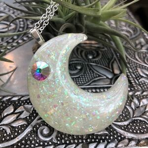 Moon glow in the dark necklace .925 chain handmade